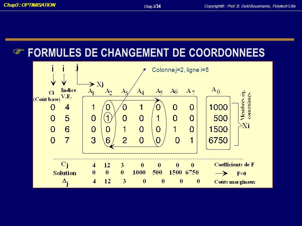 Copyright© : Prof. B. Ould Bouamama, PolytechLille Chap3 : OPTIMISATION Chap.3 / 34 F FORMULES DE CHANGEMENT DE COORDONNEES Colonne j=2, ligne i=5