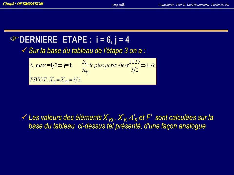 Copyright© : Prof. B. Ould Bouamama, PolytechLille Chap3 : OPTIMISATION Chap.3 / 46 F DERNIERE ETAPE : i = 6, j = 4 Sur la base du tableau de l'étape