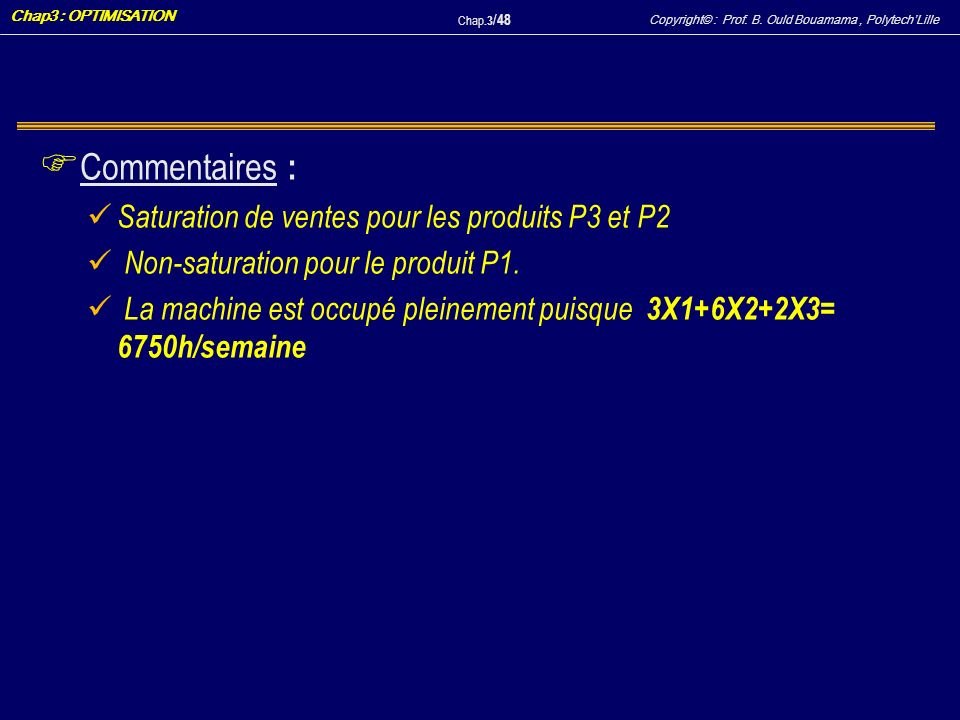 Copyright© : Prof. B. Ould Bouamama, PolytechLille Chap3 : OPTIMISATION Chap.3 / 48 F Commentaires : Saturation de ventes pour les produits P3 et P2 N