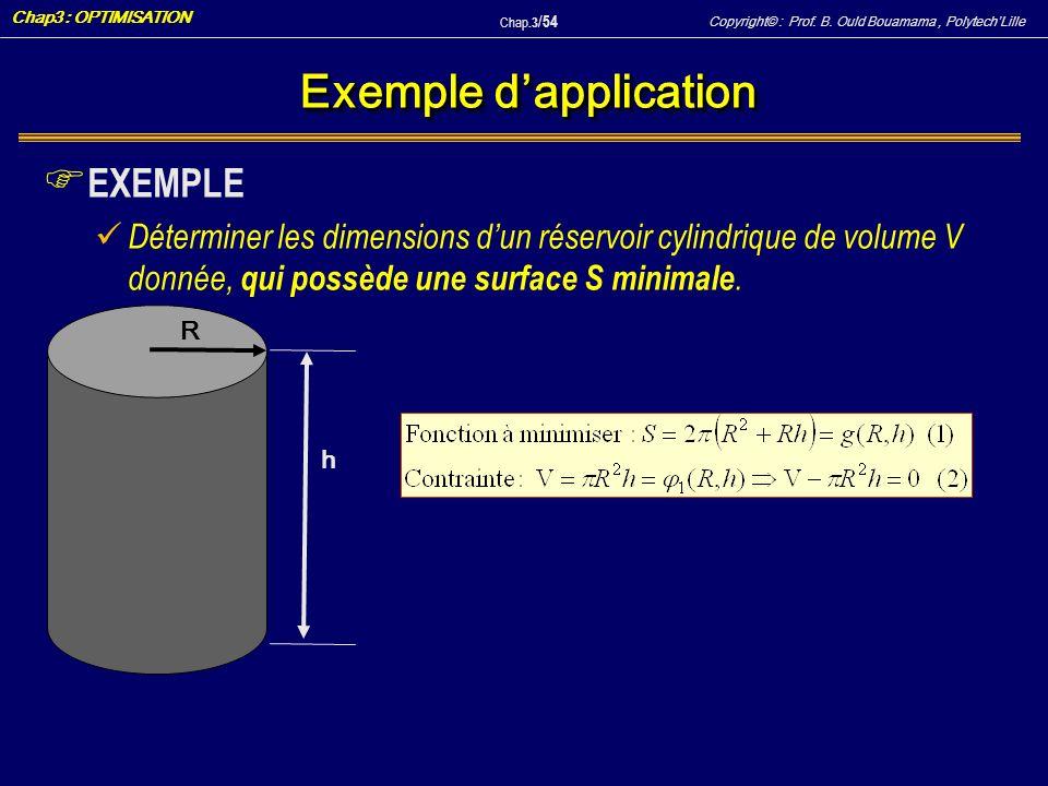 Copyright© : Prof. B. Ould Bouamama, PolytechLille Chap3 : OPTIMISATION Chap.3 / 54 Exemple dapplication F EXEMPLE Déterminer les dimensions dun réser
