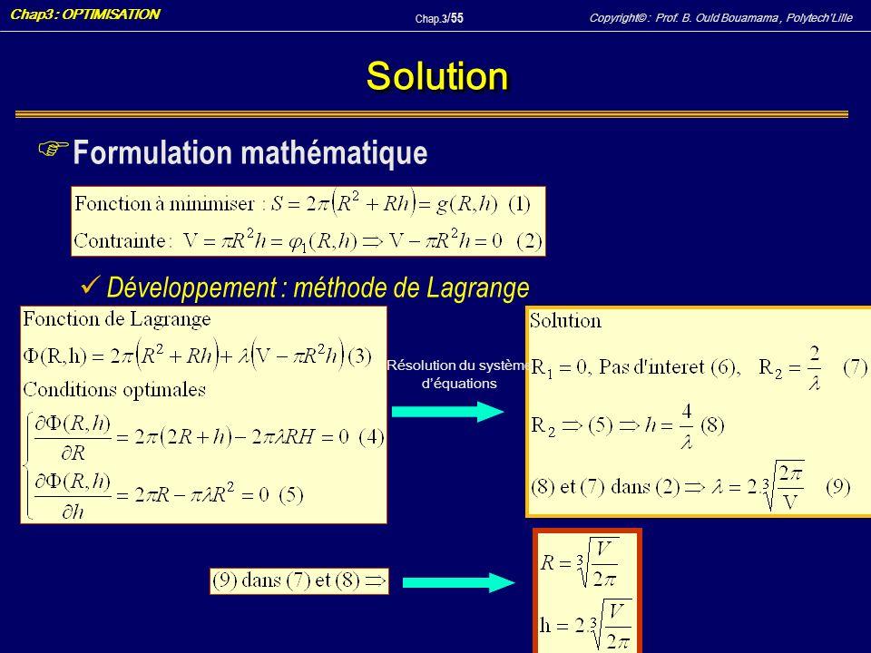 Copyright© : Prof. B. Ould Bouamama, PolytechLille Chap3 : OPTIMISATION Chap.3 / 55 SolutionSolution F Formulation mathématique Développement : méthod