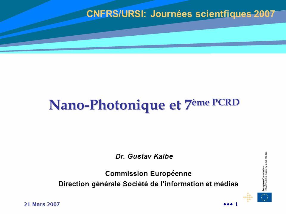 121 Mars 2007 Nano-Photonique et 7 ème PCRD Dr. Gustav Kalbe Commission Européenne Direction générale Société de l'information et médias CNFRS/URSI: J