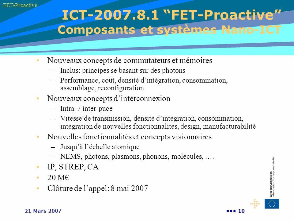 1021 Mars 2007 ICT-2007.8.1 FET-Proactive Composants et systèmes Nano-ICT FET-Proactive Nouveaux concepts de commutateurs et mémoires –Inclus: princip