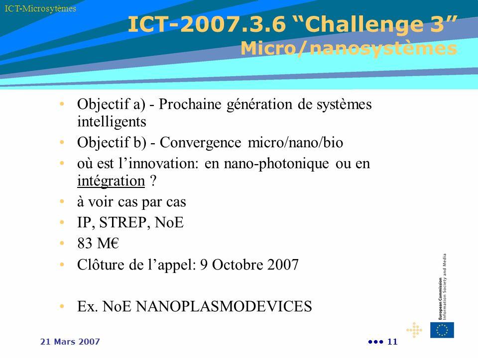 1121 Mars 2007 ICT-2007.3.6 Challenge 3 Micro/nanosystèmes ICT-Microsytèmes Objectif a) - Prochaine génération de systèmes intelligents Objectif b) -