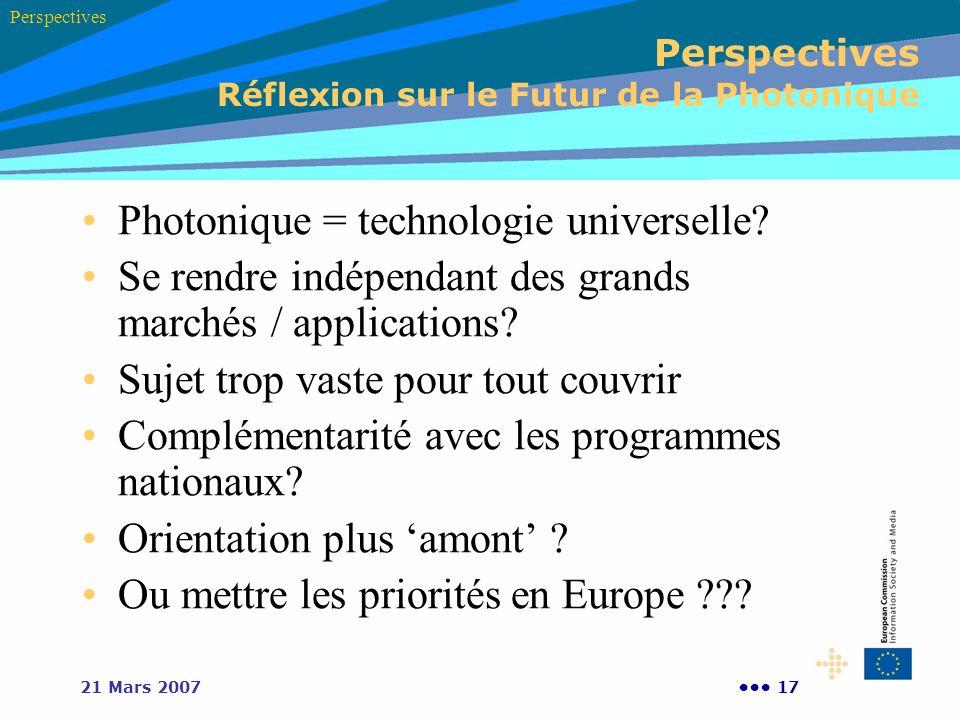 1721 Mars 2007 Perspectives Réflexion sur le Futur de la Photonique Photonique = technologie universelle? Se rendre indépendant des grands marchés / a