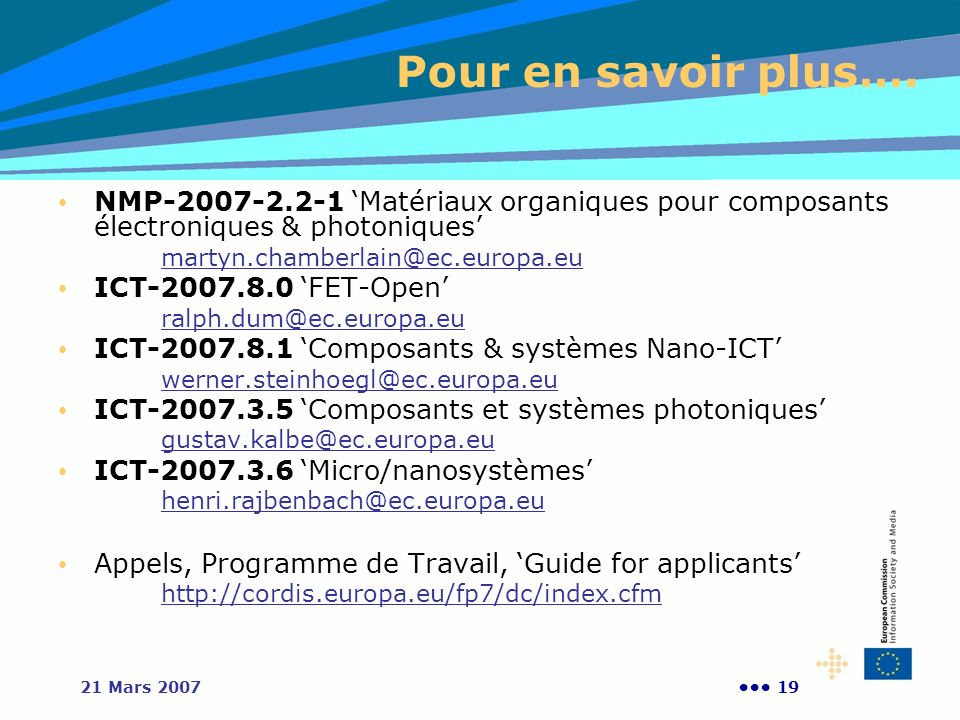 1921 Mars 2007 Pour en savoir plus…. NMP-2007-2.2-1 Matériaux organiques pour composants électroniques & photoniques martyn.chamberlain@ec.europa.eu I