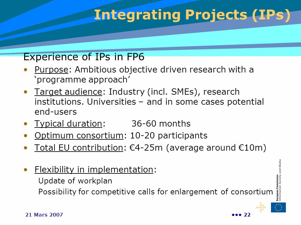 2221 Mars 2007 Experience of IPs in FP6 Purpose: Ambitious objective driven research with a programme approach Target audience: Industry (incl.