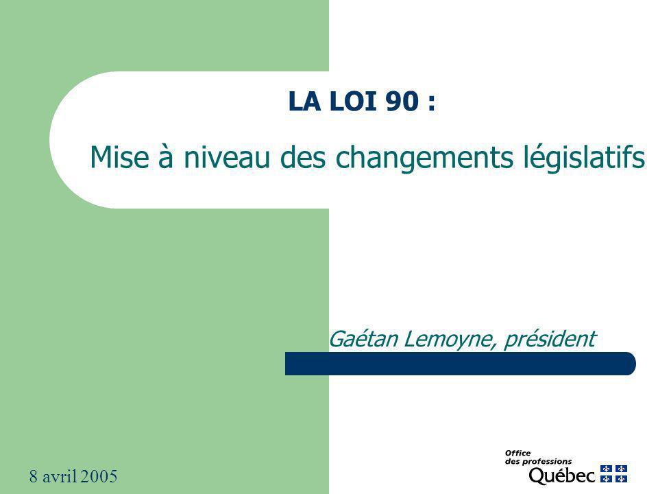 LA LOI 90 : Mise à niveau des changements législatifs Gaétan Lemoyne, président 8 avril 2005