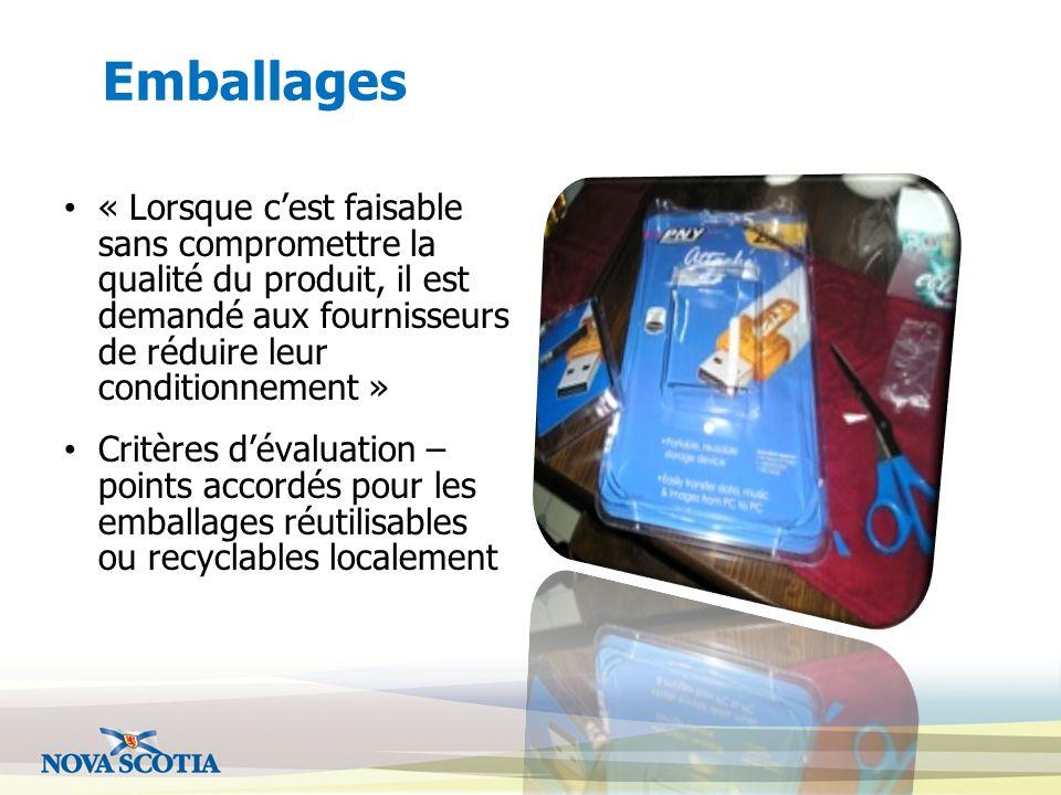 Emballages « Lorsque cest faisable sans compromettre la qualité du produit, il est demandé aux fournisseurs de réduire leur conditionnement » Critères