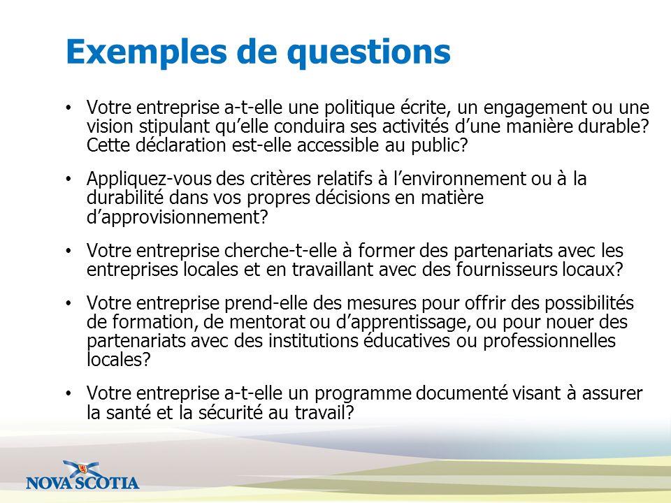 Exemples de questions Votre entreprise a-t-elle une politique écrite, un engagement ou une vision stipulant quelle conduira ses activités dune manière