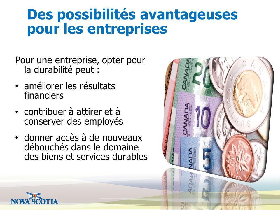 Des possibilités avantageuses pour les entreprises Pour une entreprise, opter pour la durabilité peut : améliorer les résultats financiers contribuer