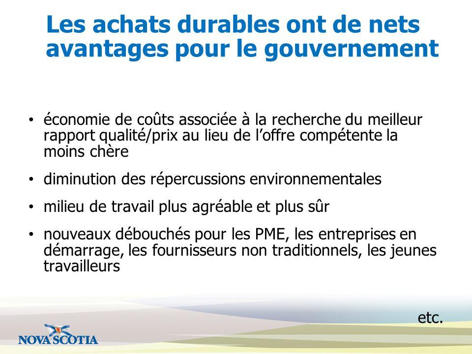 Les achats durables ont de nets avantages pour le gouvernement économie de coûts associée à la recherche du meilleur rapport qualité/prix au lieu de l