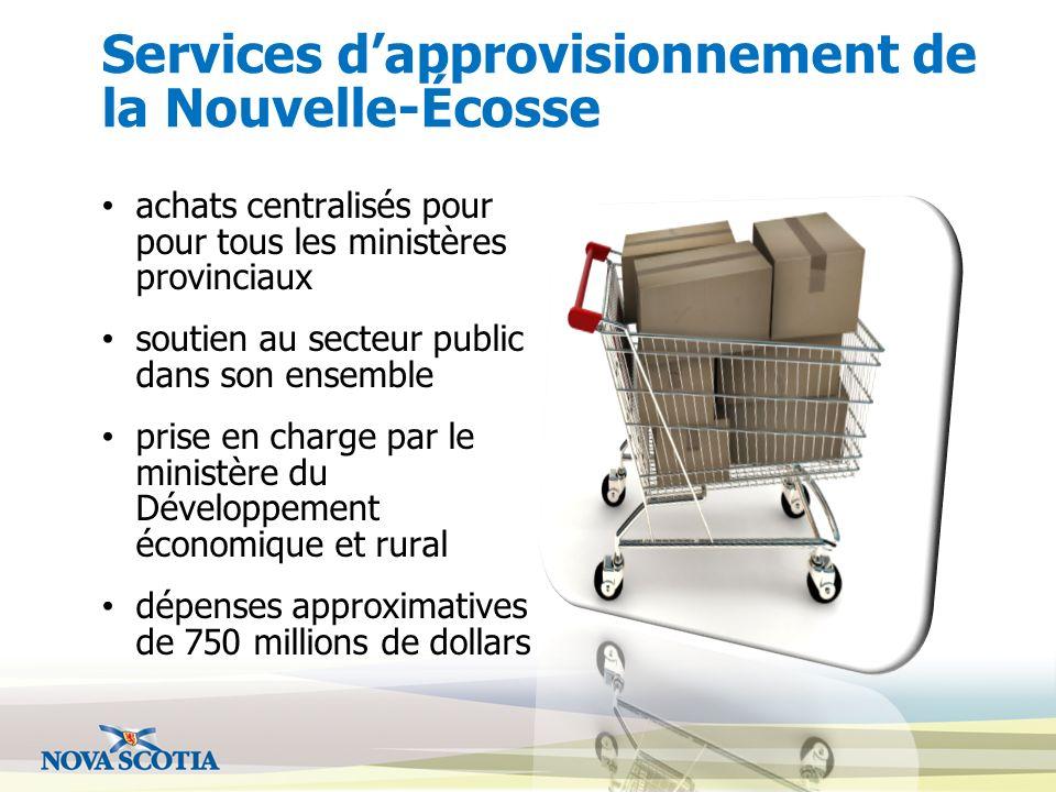 Services dapprovisionnement de la Nouvelle-Écosse achats centralisés pour pour tous les ministères provinciaux soutien au secteur public dans son ense