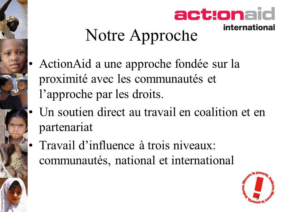 3 Notre Approche ActionAid a une approche fondée sur la proximité avec les communautés et lapproche par les droits. Un soutien direct au travail en co