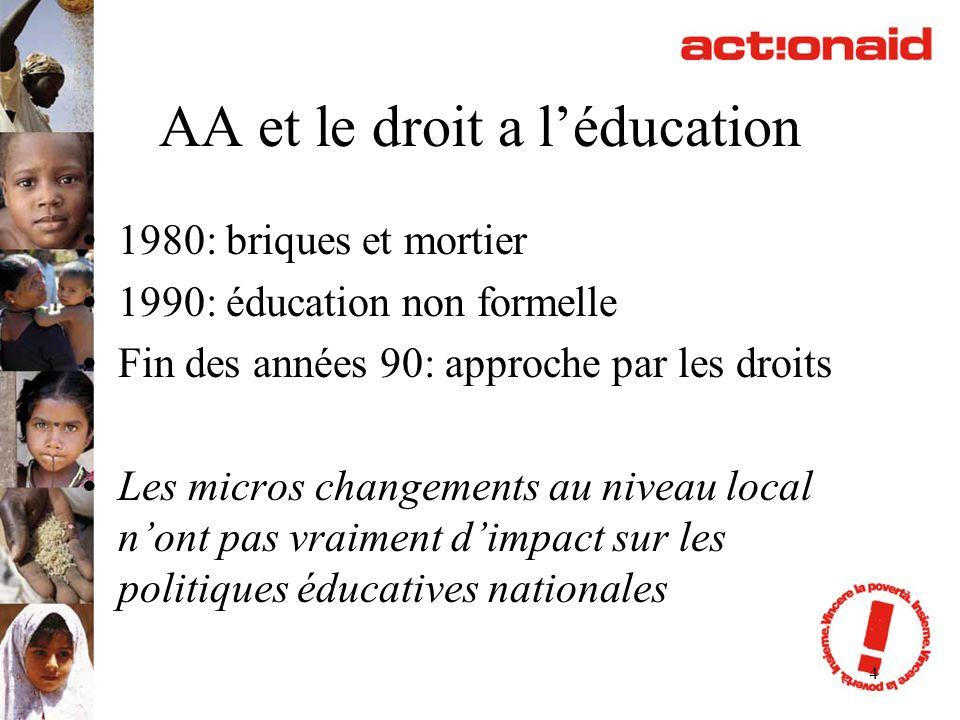 4 AA et le droit a léducation 1980: briques et mortier 1990: éducation non formelle Fin des années 90: approche par les droits Les micros changements
