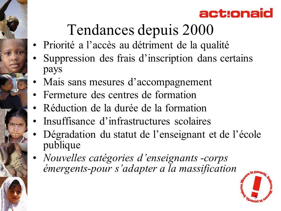 5 Tendances depuis 2000 Priorité a laccès au détriment de la qualité Suppression des frais dinscription dans certains pays Mais sans mesures daccompag