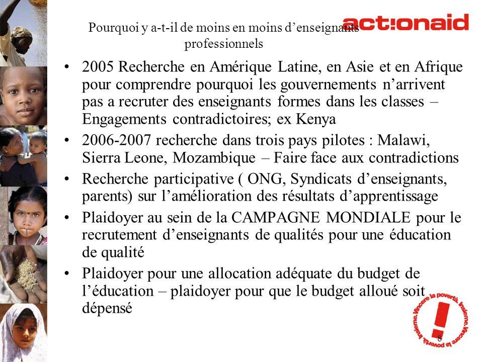 9 Alternatives sur le terrain Initiative Unesco, ADEA, etc ex rencontres de Bamako 2004 et 2009 sur les enseignants non fonctionnaires Accompagnement par des inspecteurs conseillers pédagogiques et autres structures formelles et informelles, etc.