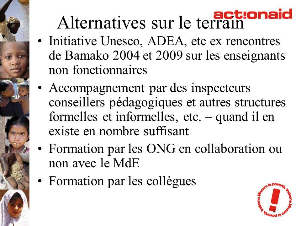 9 Alternatives sur le terrain Initiative Unesco, ADEA, etc ex rencontres de Bamako 2004 et 2009 sur les enseignants non fonctionnaires Accompagnement