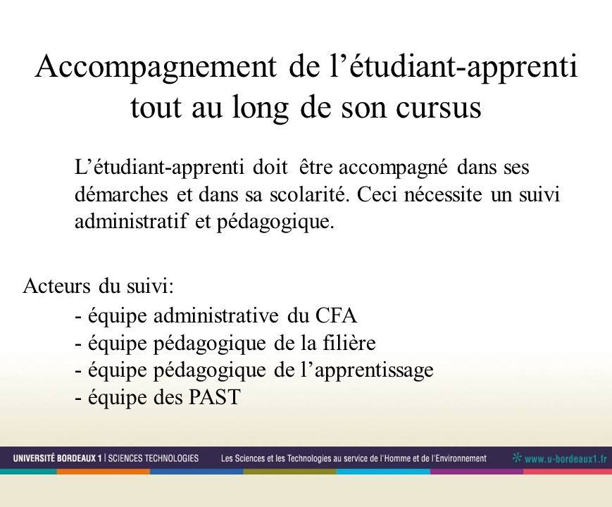Accompagnement de létudiant-apprenti tout au long de son cursus Létudiant-apprenti doit être accompagné dans ses démarches et dans sa scolarité. Ceci