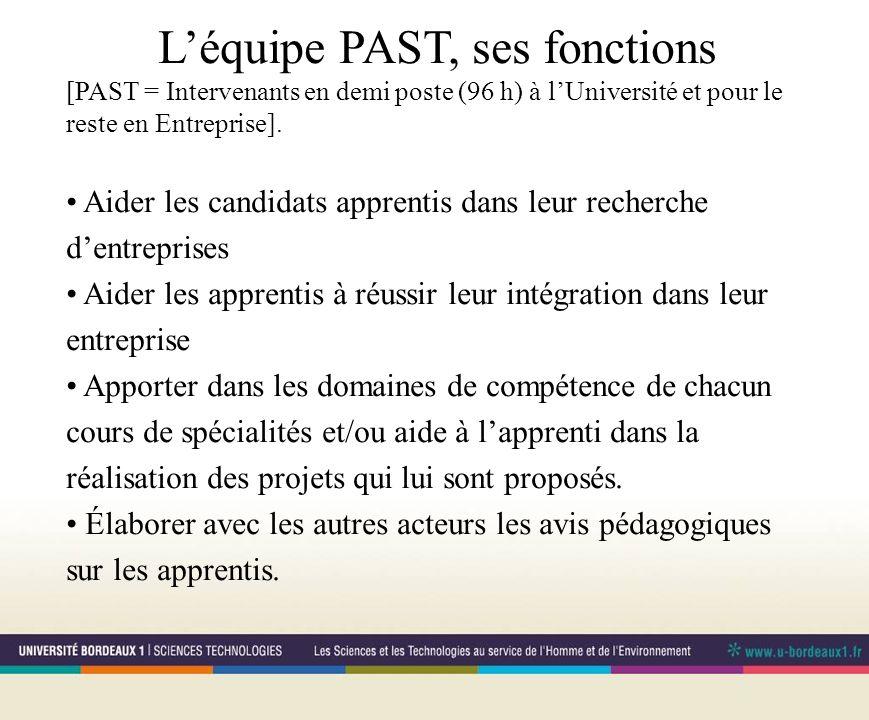 Léquipe PAST, ses fonctions [PAST = Intervenants en demi poste (96 h) à lUniversité et pour le reste en Entreprise].