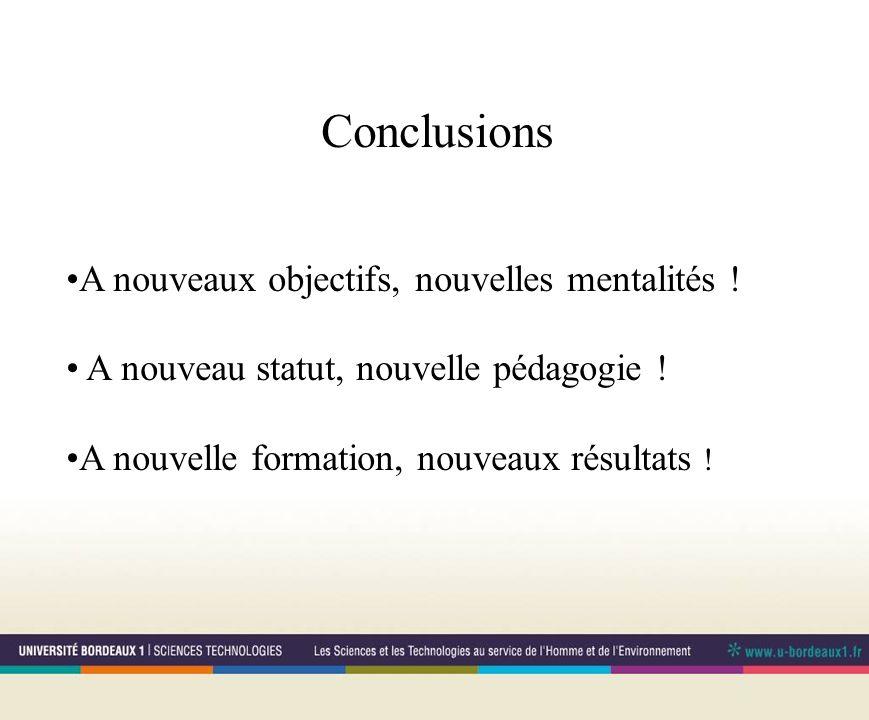 Conclusions A nouveaux objectifs, nouvelles mentalités .