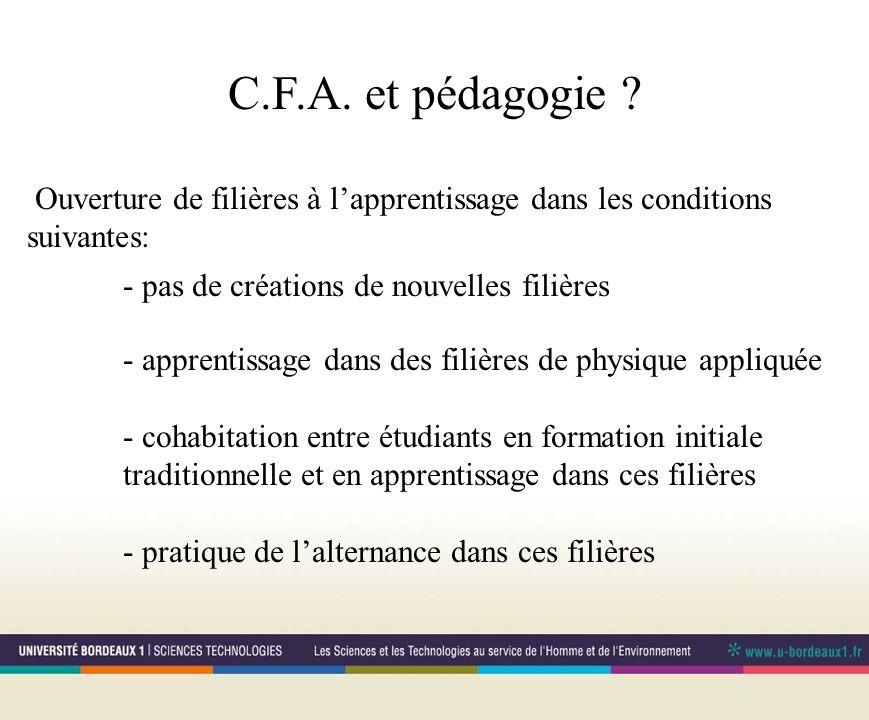 C.F.A. et pédagogie .
