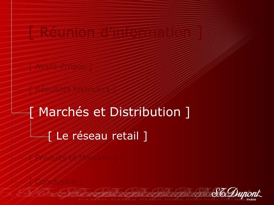 35 [ Réunion dinformation ] [ Avant-Propos ] [ Résultats financiers ] [ Marchés et Distribution ] [ Produits et Marketing ] [ Conclusion ] [ Le réseau retail ]