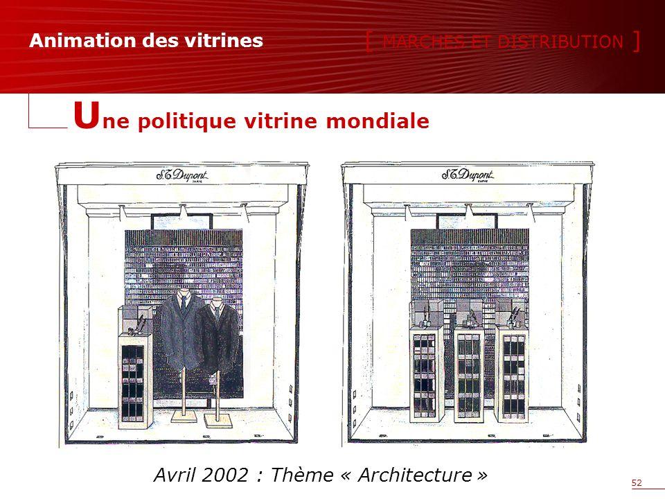 52 [ MARCHES ET DISTRIBUTION ] U ne politique vitrine mondiale Avril 2002 : Thème « Architecture » Animation des vitrines