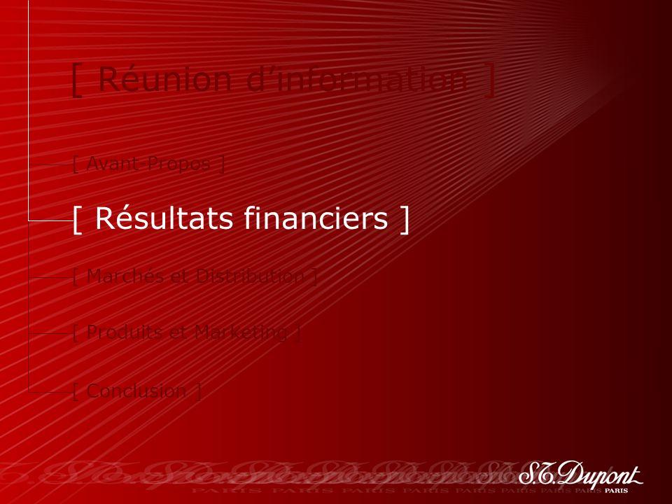 8 [ Avant-Propos ] [ Résultats financiers ] [ Marchés et Distribution ] [ Produits et Marketing ] [ Conclusion ] [ Réunion dinformation ]
