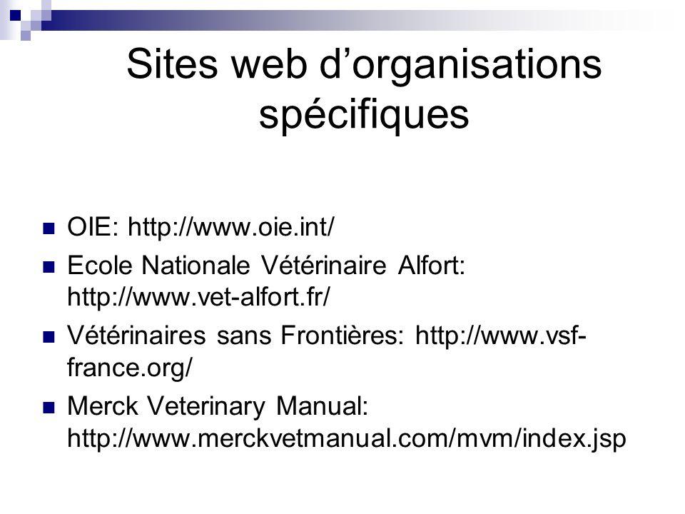 Sites web dorganisations spécifiques OIE: http://www.oie.int/ Ecole Nationale Vétérinaire Alfort: http://www.vet-alfort.fr/ Vétérinaires sans Frontières: http://www.vsf- france.org/ Merck Veterinary Manual: http://www.merckvetmanual.com/mvm/index.jsp