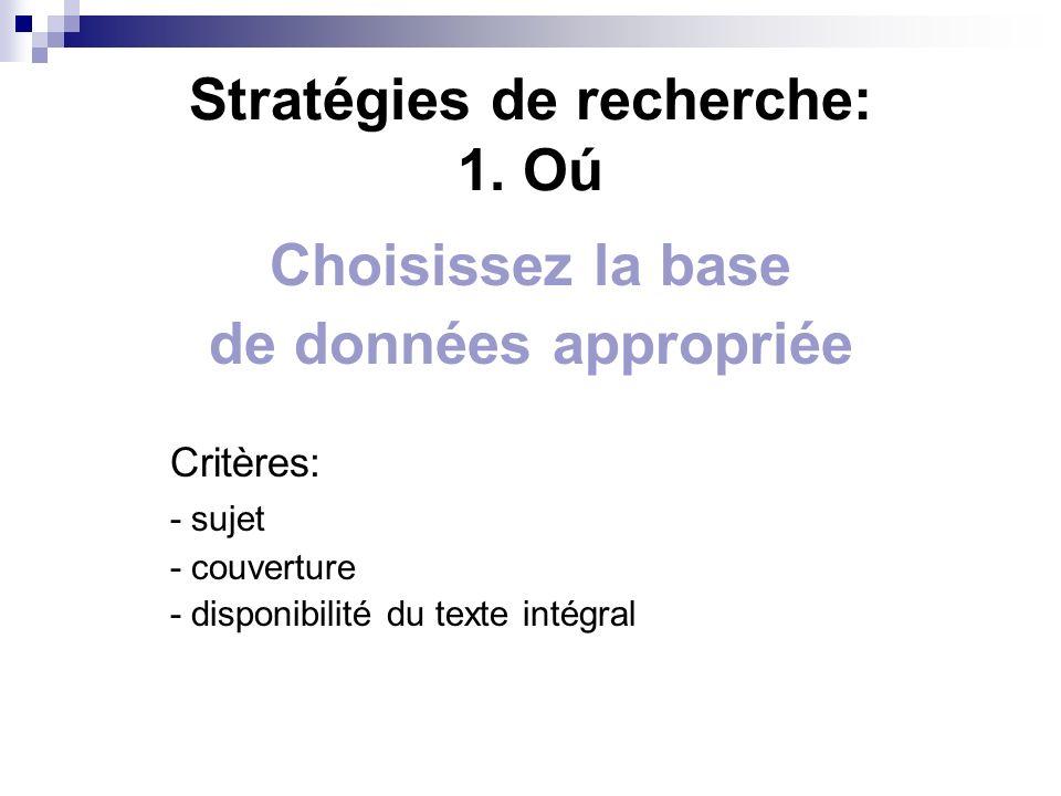 Stratégies de recherche: 1.