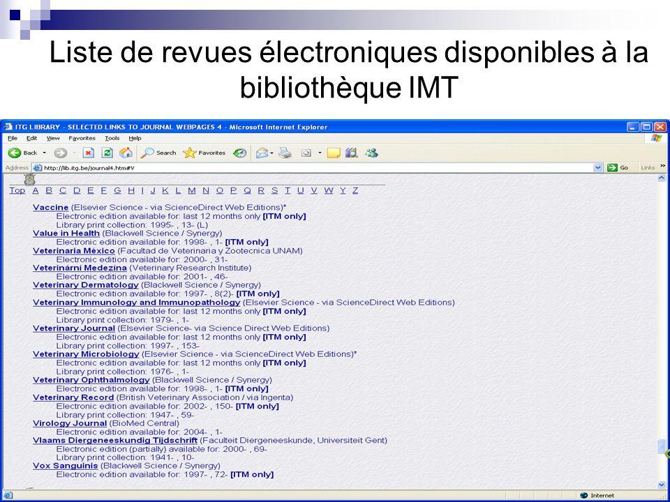 Liste de revues électroniques disponibles à la bibliothèque IMT