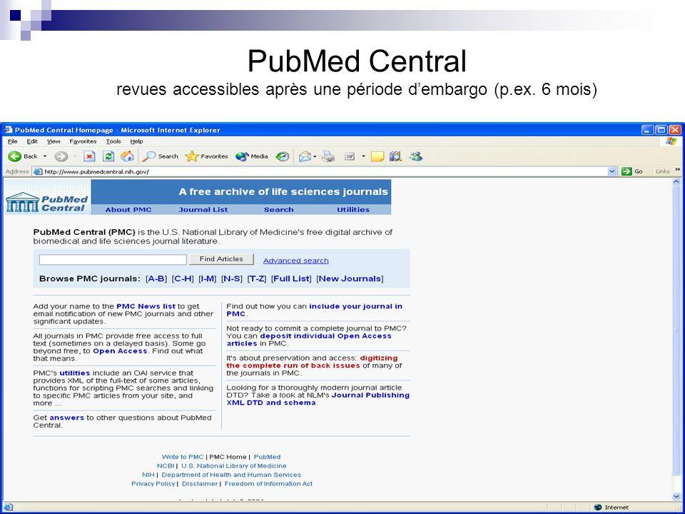 PubMed Central revues accessibles après une période dembargo (p.ex. 6 mois)