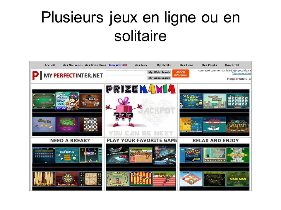 Plusieurs jeux en ligne ou en solitaire