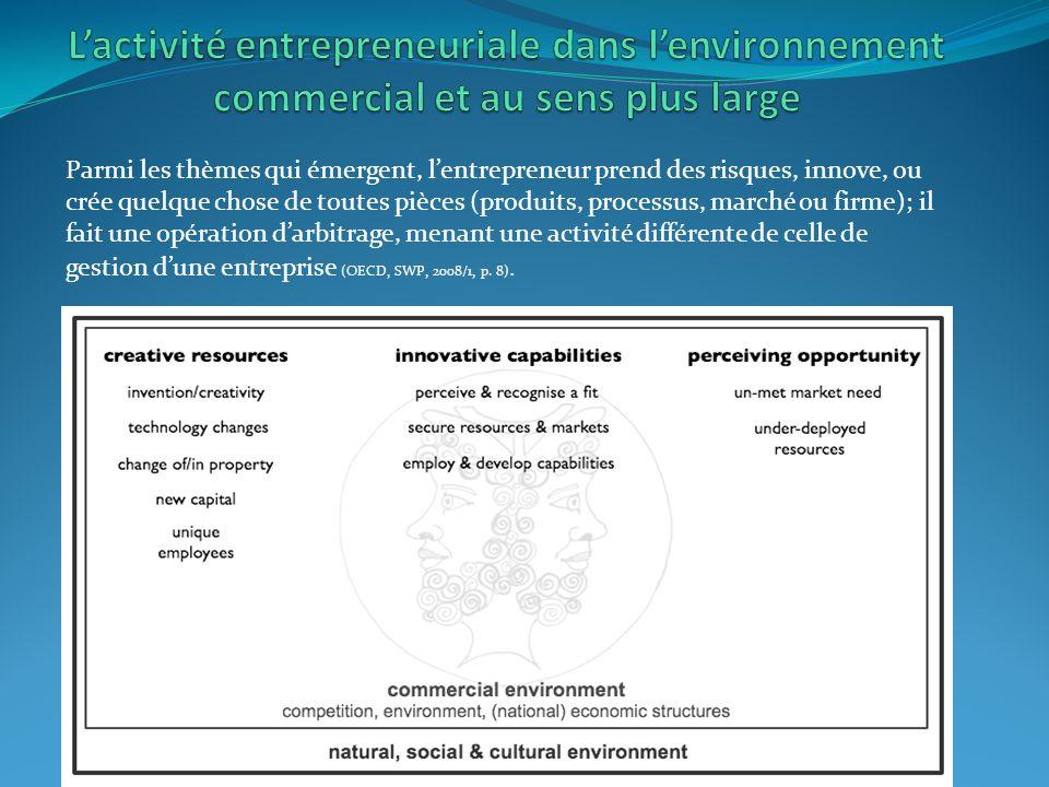 Parmi les thèmes qui émergent, lentrepreneur prend des risques, innove, ou crée quelque chose de toutes pièces (produits, processus, marché ou firme); il fait une opération darbitrage, menant une activité différente de celle de gestion dune entreprise (OECD, SWP, 2008/1, p.