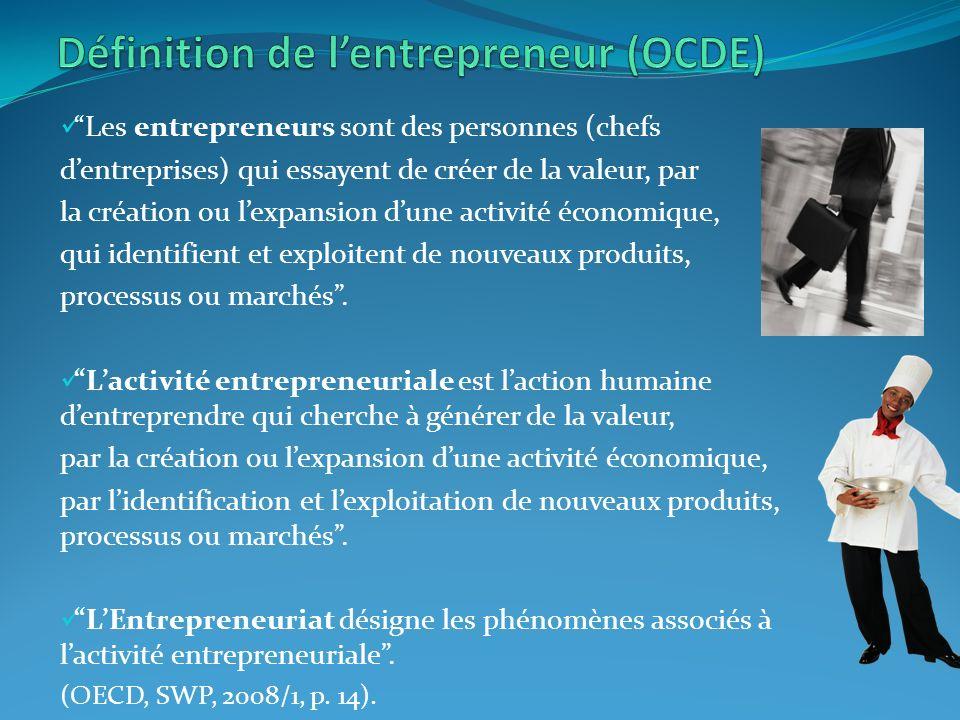 Les entrepreneurs sont des personnes (chefs dentreprises) qui essayent de créer de la valeur, par la création ou lexpansion dune activité économique, qui identifient et exploitent de nouveaux produits, processus ou marchés.