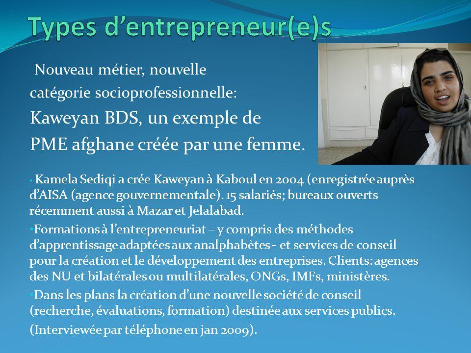 Nouveau métier, nouvelle catégorie socioprofessionnelle: Kaweyan BDS, un exemple de PME afghane créée par une femme.