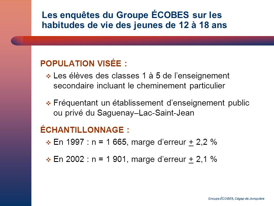 Groupe ÉCOBES, Cégep de Jonquière Les enquêtes du Groupe ÉCOBES sur les habitudes de vie des jeunes de 12 à 18 ans POPULATION VISÉE : Les élèves des classes 1 à 5 de lenseignement secondaire incluant le cheminement particulier Fréquentant un établissement denseignement public ou privé du Saguenay–Lac-Saint-Jean ÉCHANTILLONNAGE : En 1997 : n = 1 665, marge derreur + 2,2 % En 2002 : n = 1 901, marge derreur + 2,1 %