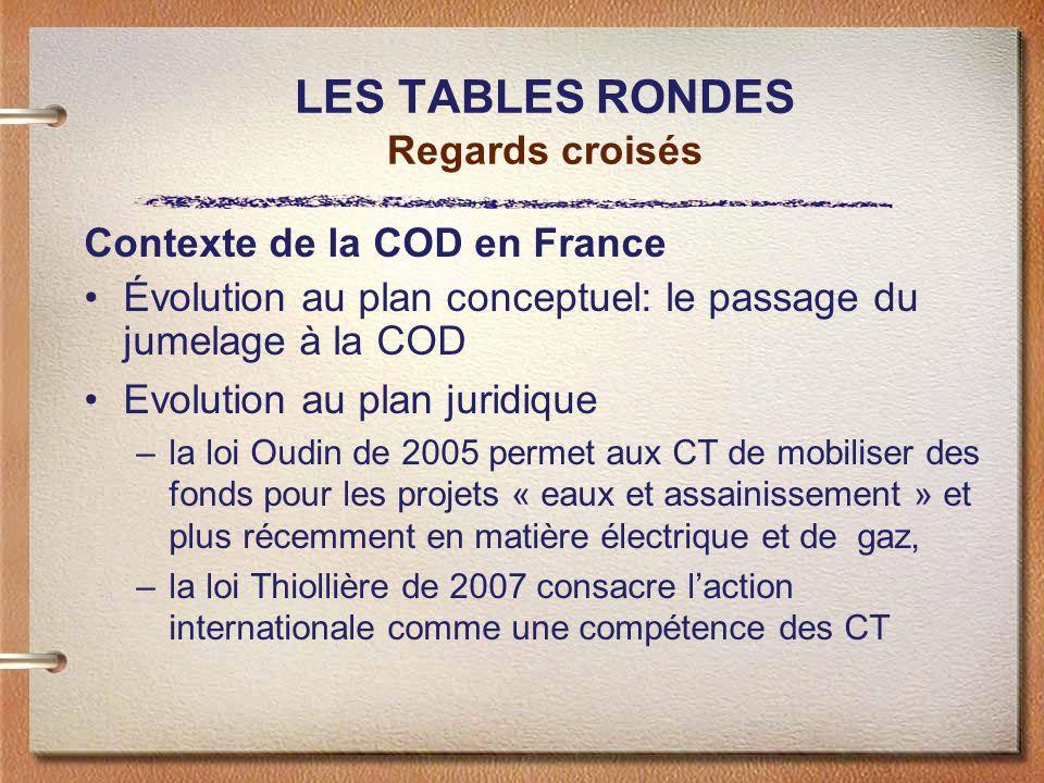 LES TABLES RONDES Regards croisés Contexte de la COD en France Évolution au plan conceptuel: le passage du jumelage à la COD Evolution au plan juridiq
