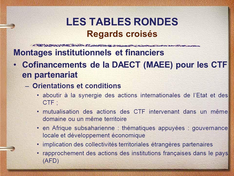 LES TABLES RONDES Regards croisés Montages institutionnels et financiers Cofinancements de la DAECT (MAEE) pour les CTF en partenariat –Orientations e