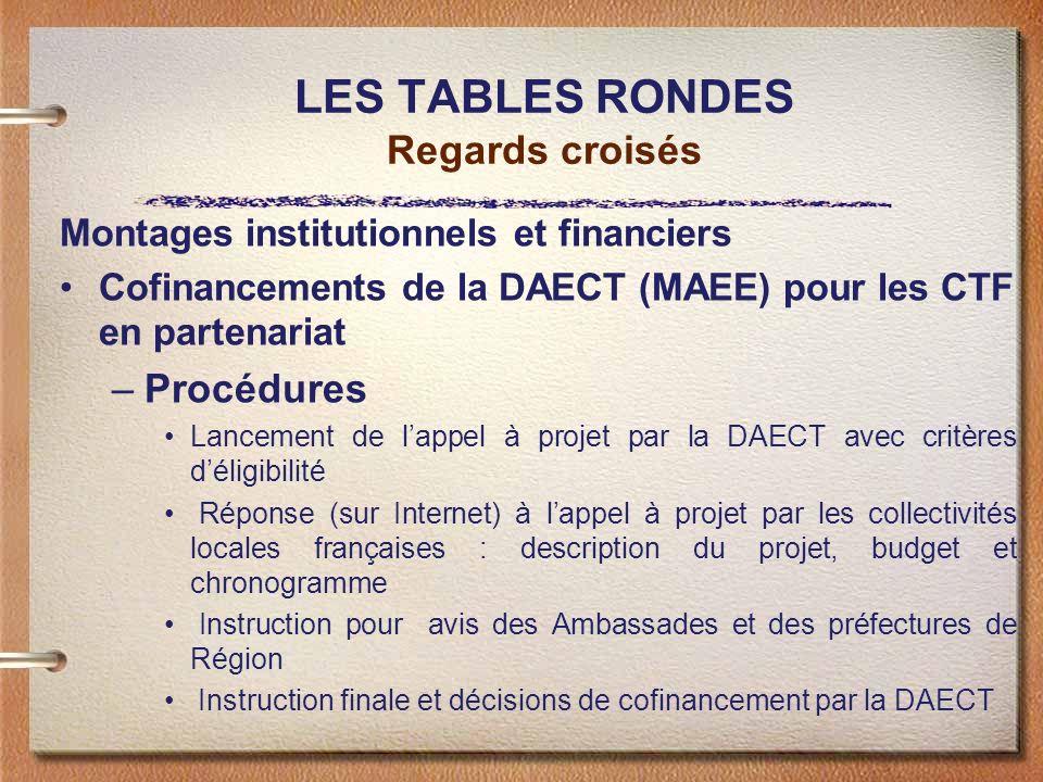 LES TABLES RONDES Regards croisés Montages institutionnels et financiers Cofinancements de la DAECT (MAEE) pour les CTF en partenariat –Procédures Lan