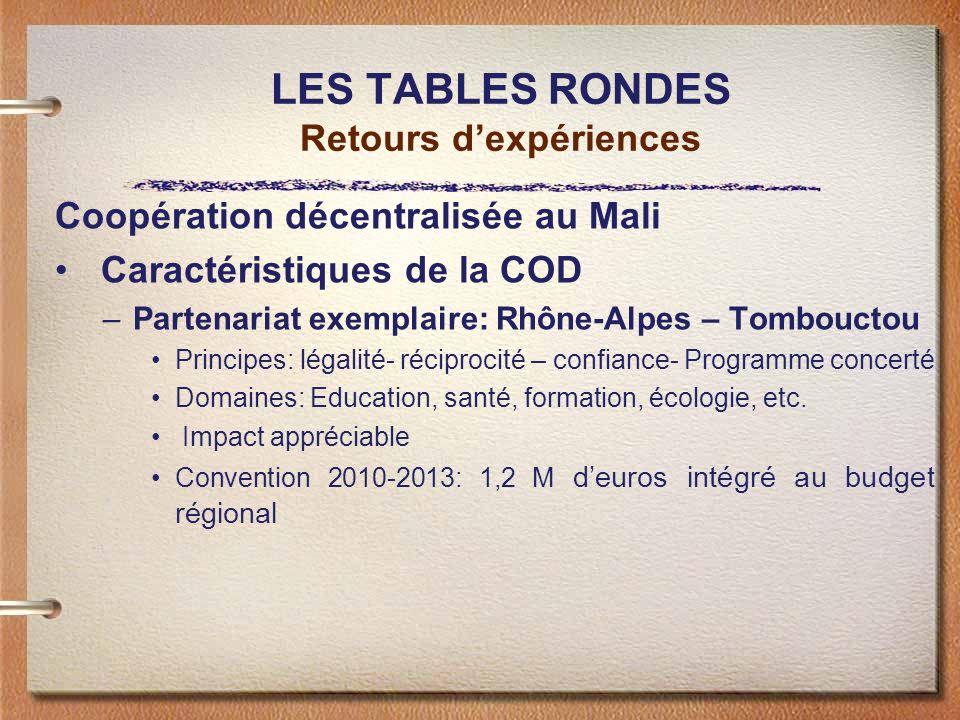 LES TABLES RONDES Retours dexpériences Coopération décentralisée au Mali Caractéristiques de la COD –Partenariat exemplaire: Rhône-Alpes – Tombouctou