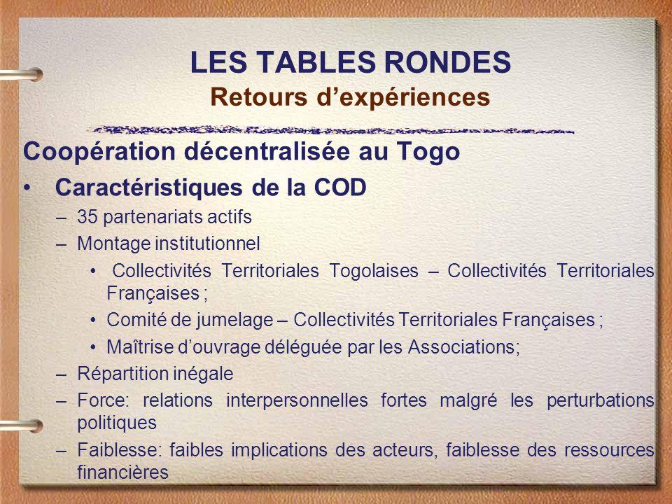LES TABLES RONDES Retours dexpériences Coopération décentralisée au Togo Caractéristiques de la COD –35 partenariats actifs –Montage institutionnel Co