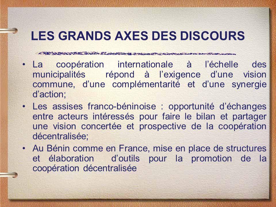 LES GRANDS AXES DES DISCOURS La coopération internationale à léchelle des municipalités répond à lexigence dune vision commune, dune complémentarité e
