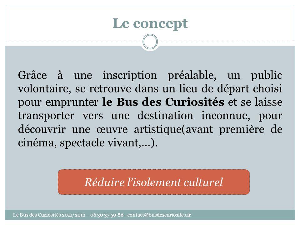 Le concept Grâce à une inscription préalable, un public volontaire, se retrouve dans un lieu de départ choisi pour emprunter le Bus des Curiosités et