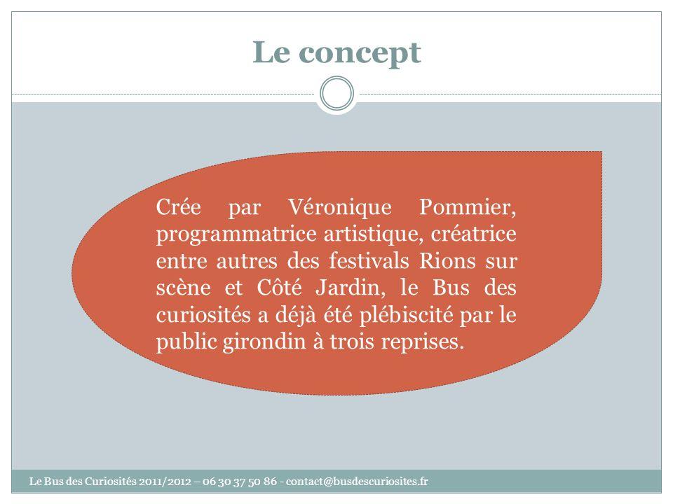Crée par Véronique Pommier, programmatrice artistique, créatrice entre autres des festivals Rions sur scène et Côté Jardin, le Bus des curiosités a dé