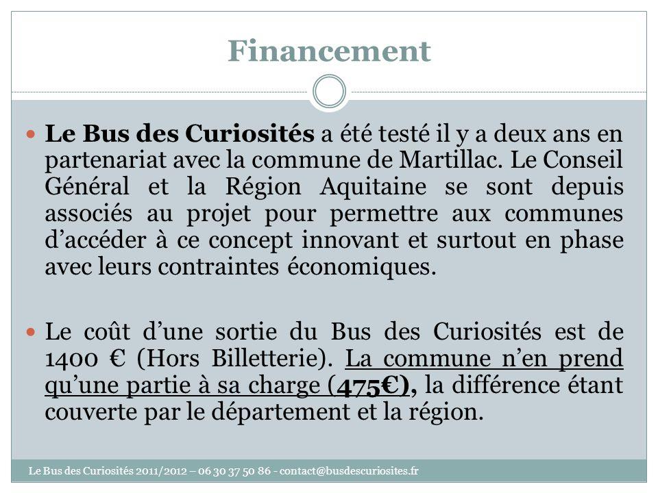 Financement Le Bus des Curiosités a été testé il y a deux ans en partenariat avec la commune de Martillac. Le Conseil Général et la Région Aquitaine s