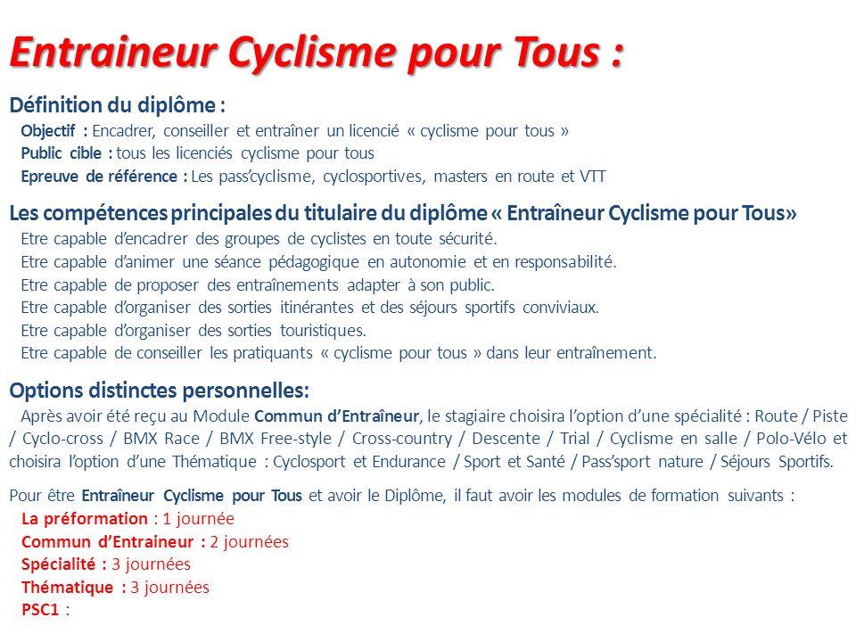 Entraineur Cyclisme pour Tous : Définition du diplôme : Objectif : Encadrer, conseiller et entraîner un licencié « cyclisme pour tous » Public cible :