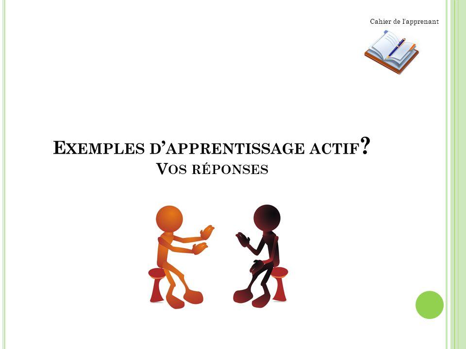 E XEMPLES D APPRENTISSAGE ACTIF ? V OS RÉPONSES Cahier de lapprenant