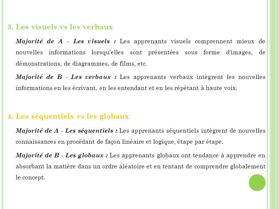 3. Les visuels vs les verbaux Majorité de A - Les visuels : Les apprenants visuels comprennent mieux de nouvelles informations lorsquelles sont présen